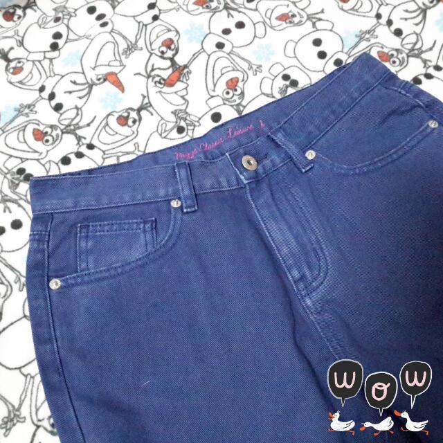 全新~PAZZO丈青藍S繽紛色調素色長褲(原價690)1折出清