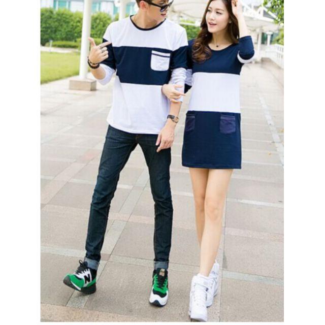 『免運』情侶裝--日韓版上衣T恤(寶藍色)