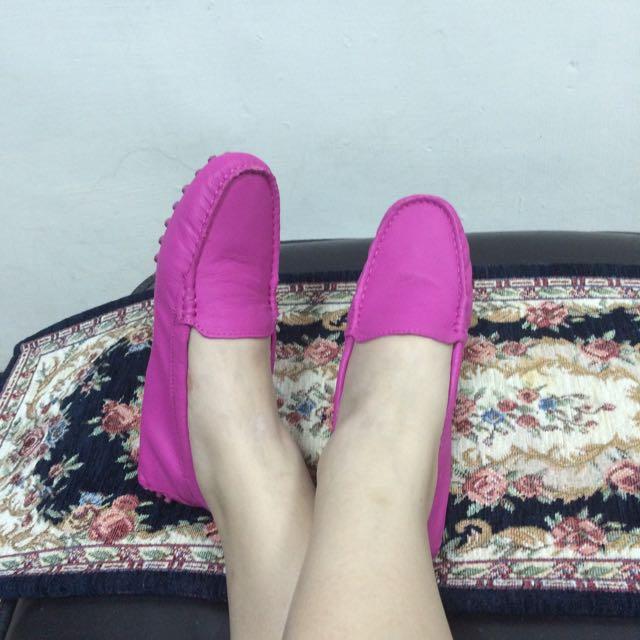 Tanara 真皮顯白桃紅豆豆鞋