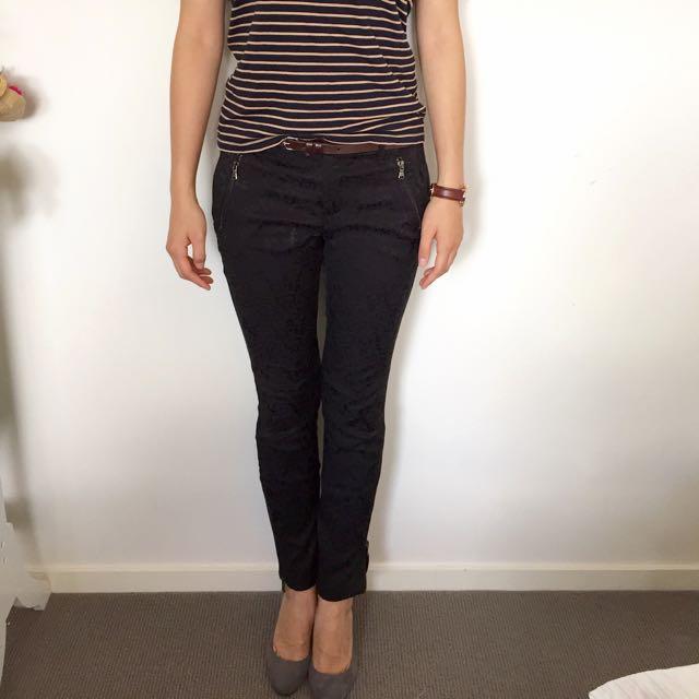 Zara Basic Black Straight Pants With Belt
