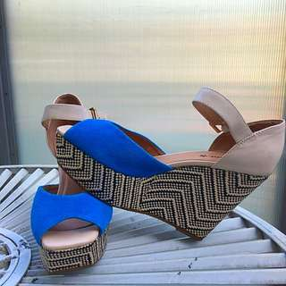 Blue Wedge Heel
