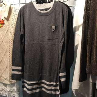 [降價]灰色金扣薄毛衣