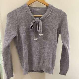 韓款甜美兔毛灰色毛衣上衣