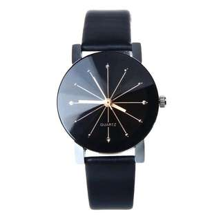 Excellent Semi Leather Fashion Watches Black