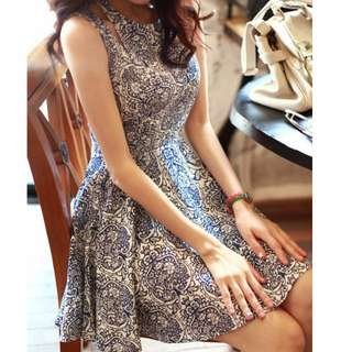Blue and white flower dress