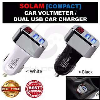 ★ Exclusive Promo@Carousell★ SOLAM [Compact] Digital Car Voltmeter with Dual USB Car Charger ★ 3.1 amps Rapid & Smart Charging Feature ★ Bright Blue LED Display ★ Brand New [BNIB] ★ Hot Seller ★ New Stock Just In ★ Car Volt Meter