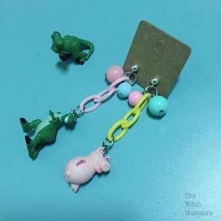 手作純銀耳環玩具總動員抱抱龍火腿豬