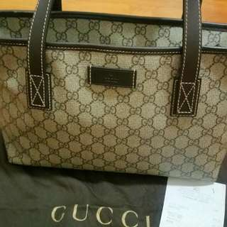 Gucci Beige/Ebony GG Supreme Canvas with Brown Leather Trim Tote Bag