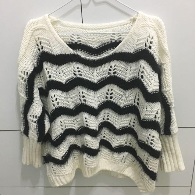 黑白條紋百搭毛衣