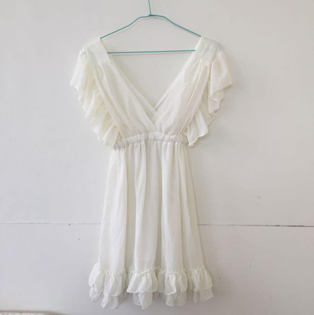 全新米白雪紡洋裝