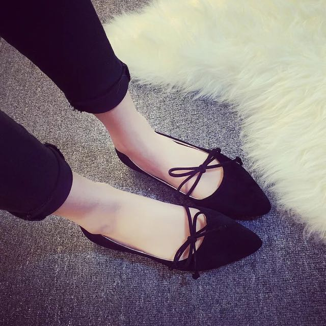 平底造型蝴蝶結尖頭鞋