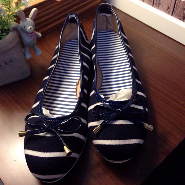 鞋碼 40 藍底白條紋 蝴蝶結 平底鞋 便鞋 娃娃鞋 海軍風