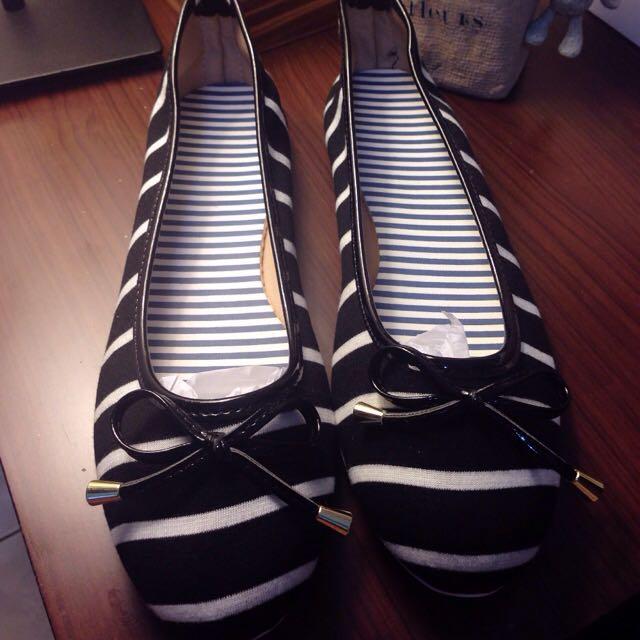 鞋碼 40 黑底白條紋 蝴蝶結 便鞋 平底鞋 娃娃鞋 海軍風