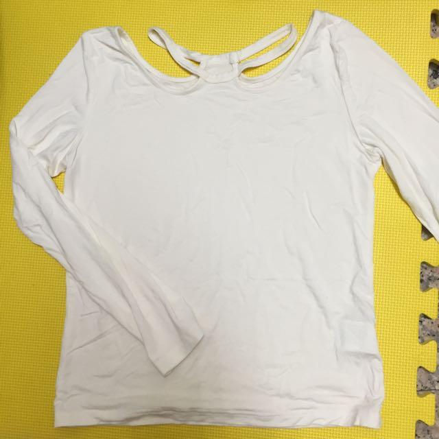 全新 米白色氣質露頸長袖上衣
