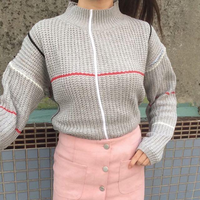韓版 粗針織毛衣 百搭灰色