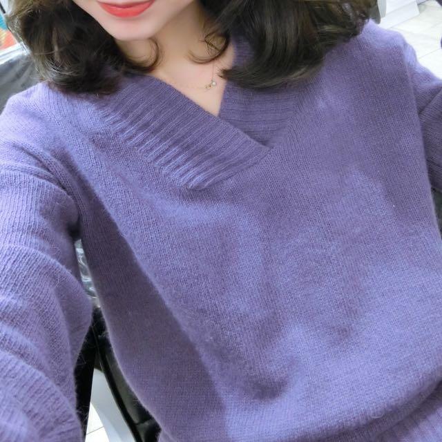 正韓 粉紫色 兔毛上衣