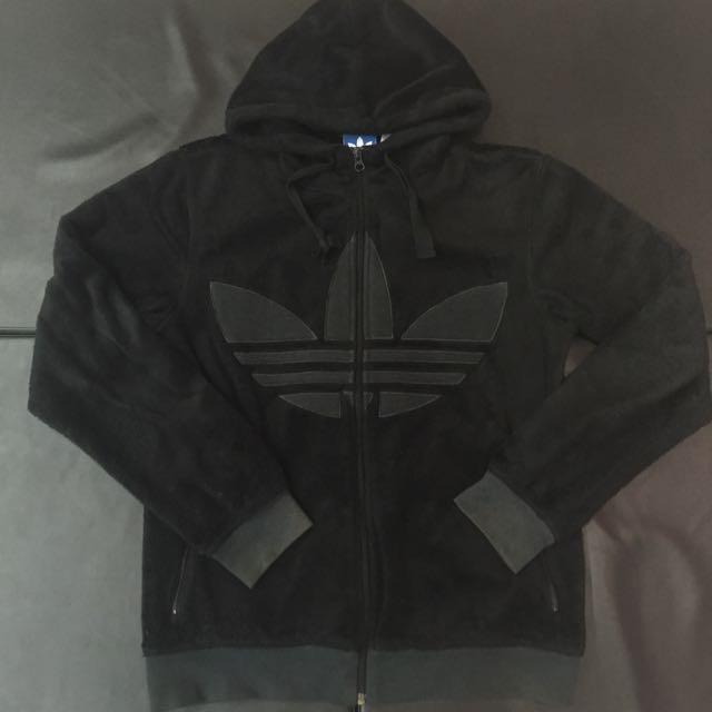 Adidas Originals 黑絨毛連帽外套 S