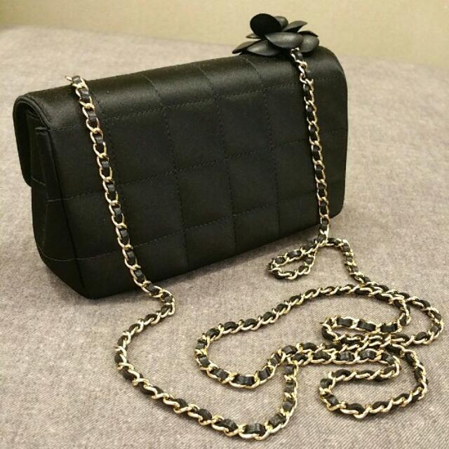 fa67ceb438d9 Chanel Satin Quilted Leather Camellia Flower Bag 100% Authentic ...