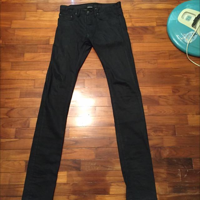 Dior homme 黑色上膠牛仔褲 降