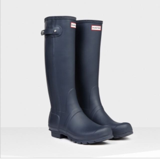 全新Hunter 窄版霧面藍UK5 /24-24.5可穿/腿圍37