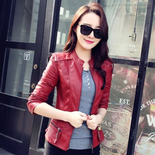 Pending Ladies Pu Leather Jacket Wine Red Colour Women S Fashion