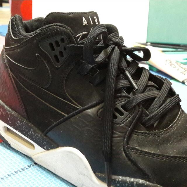 Nike Air Flight 89 Black OREO 黑白 潑墨 鱷魚紋 籃球鞋 二手 9號 古著 九成新(非rougeRun Adidas Puma Reebok Mmd Boost)