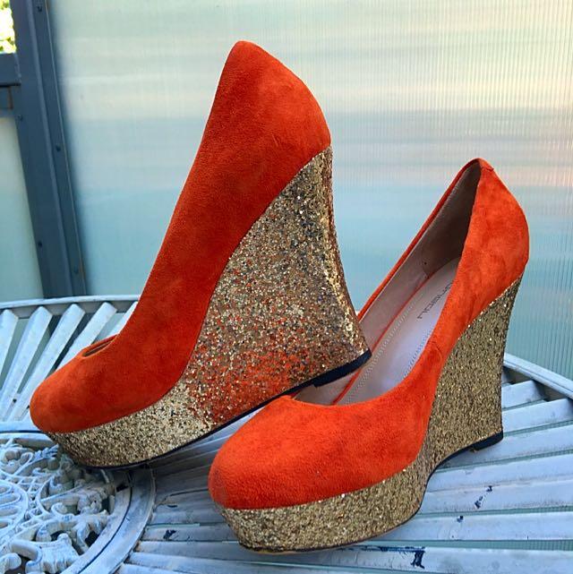 Orange Wedge Heel