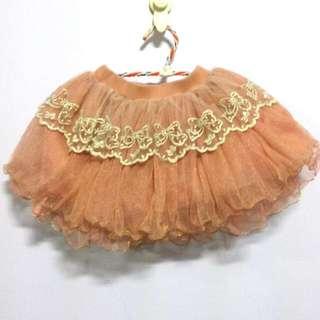 女童玫瑰金粉色紗裙