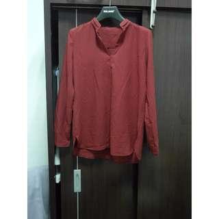 (免運全新)酒紅雪紡襯衫