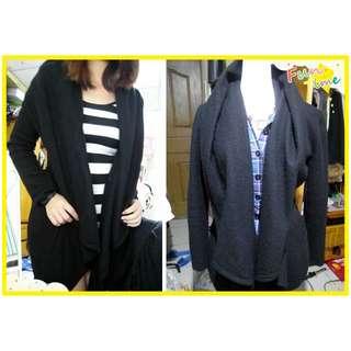 轉賣 正韓韓國 H.senne品牌 知性風垂墜感不規則傘狀開衫造型毛呢大衣 外套 黑色