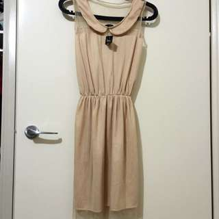 <NEW> Beige Dress With Mesh