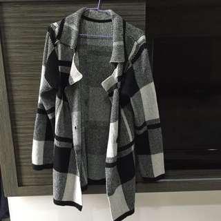 黑白針織格紋翻領外套