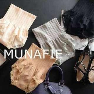 台ㄖ韓⏳預購💛 MUNAFIE 日本 無縫高腰收腹提臀燃脂蕾絲塑身內褲  共四色