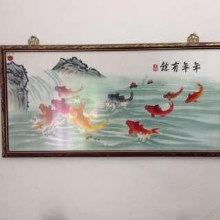 Frame Gambar  9 Ekor Ikan Koi.Sulam Dengan Benang Kualiti.100% Hand Made Arts.Asal Dari Negara China.1x2.5feet.