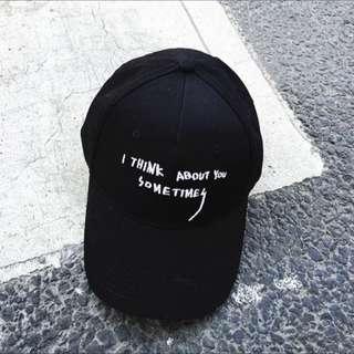 黑色復古字母刺繡鴨舌帽