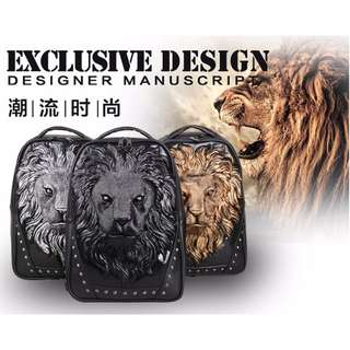 免運 時尚 3D立體 萬獸之王 獅子頭 後背包 男女雙肩 動物造型 書包 公事包 電腦包 共三色
