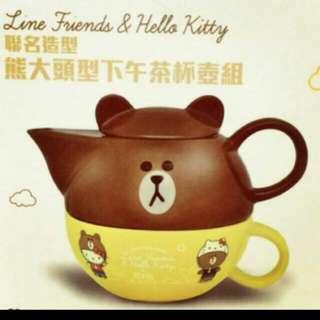 ✨711聯名熊大頭型午茶杯組