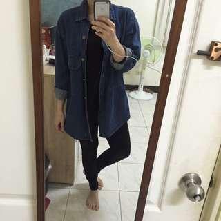 寬鬆版男友襯衫深藍 Oversize
