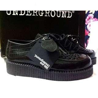 保留)Underground creepers 限量鱷魚皮壓紋 單層厚底鞋