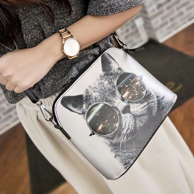 時尚墨鏡酷貓貝殻包/手提側背包