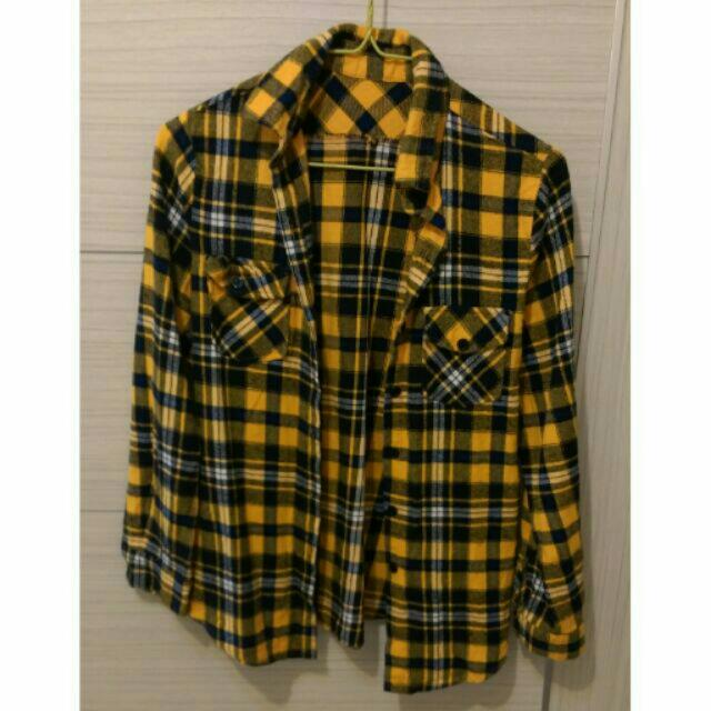 黃黑深藍格紋長袖襯衫