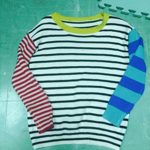 橫條彩色毛衣