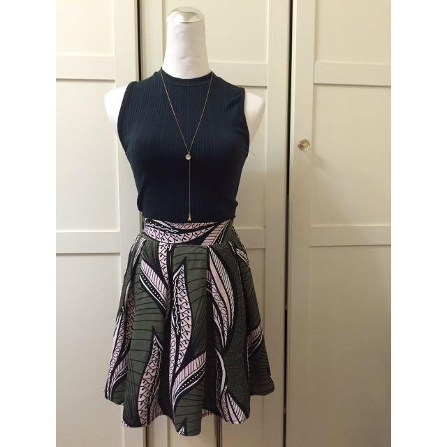 全新-春裝-圖騰雪紡短裙