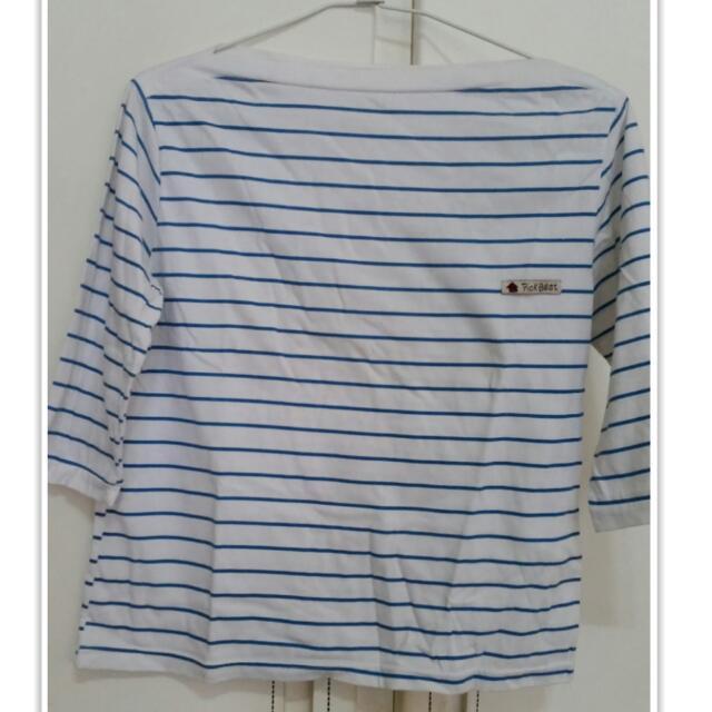 藍白條紋七分袖上衣