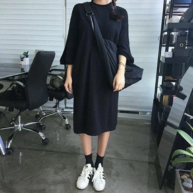 七分袖寬鬆連身裙