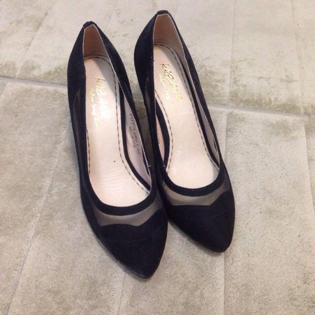 全新 黑色透膚高跟鞋