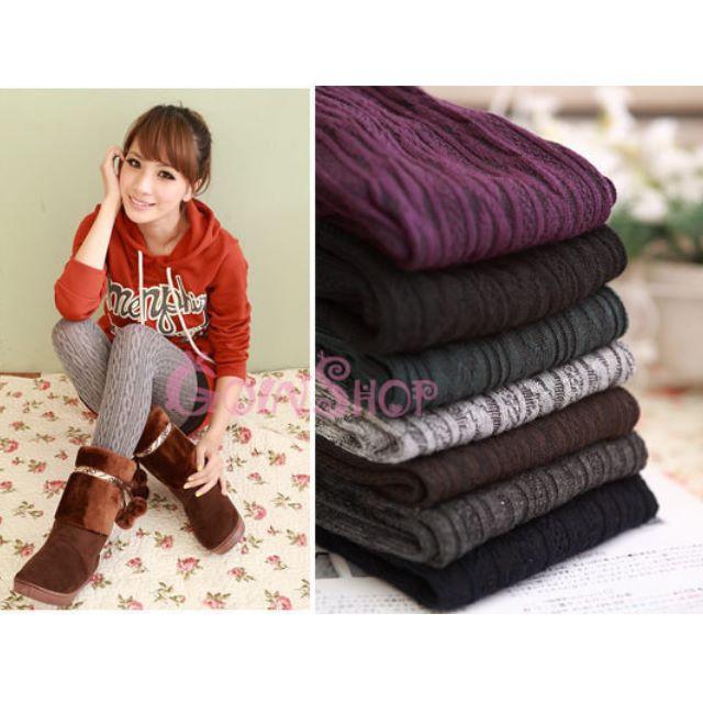 羅紋交叉排列 甜美系百搭連身保暖褲襪