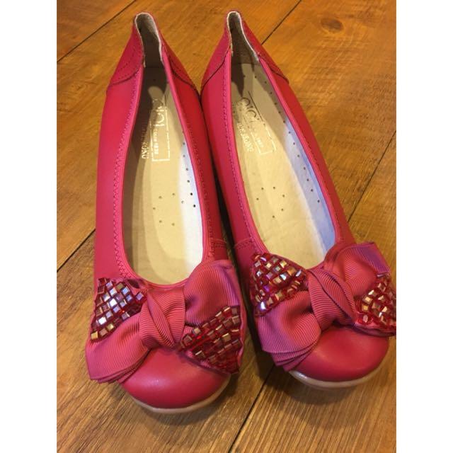 桃粉蝴蝶結 便鞋娃娃鞋