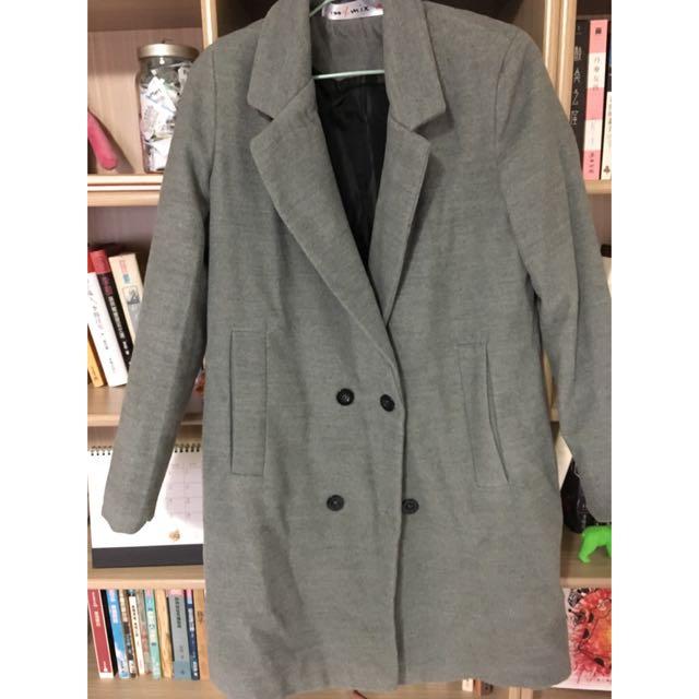 歐美 灰色毛呢 中長板大衣外套