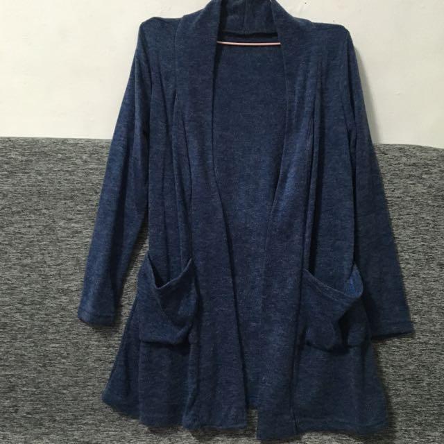 毛料長版外套 開襟 罩衫 大口袋